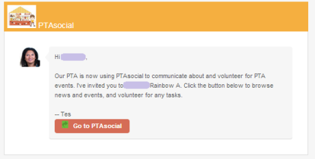 PTAsocial email invitation example